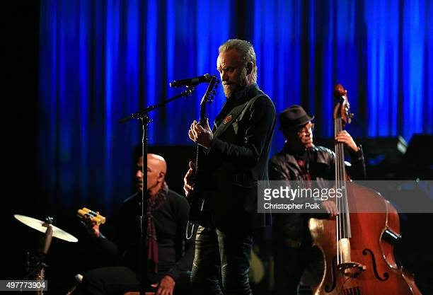 Recording artist Sting performs onstage at AE Networks 'Shining A Light' concert at The Shrine Auditorium on November 18 2015 in Los Angeles...