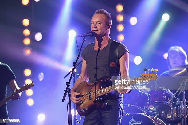 Recording artist Sting performs onstage at the 2016 American Music Awards at Microsoft Theater on November 20 2016 in Los Angeles California