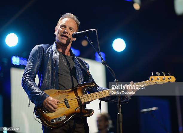 Recording artist Sting performs onstage at the 2016 iHeartRadio Music Festival at TMobile Arena on September 24 2016 in Las Vegas Nevada