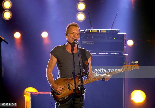 Recording artist Sting performs onstage during the 2016 American Music Awards held at Microsoft Theater on November 20 2016 in Los Angeles California