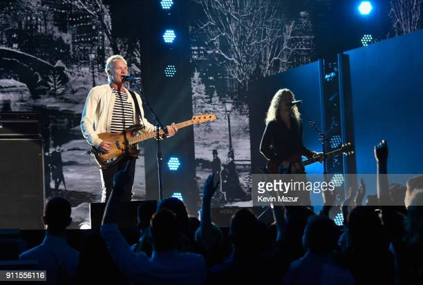 Recording artist Sting performs onstage during the 60th Annual GRAMMY Awards at Madison Square Garden on January 28 2018 in New York City