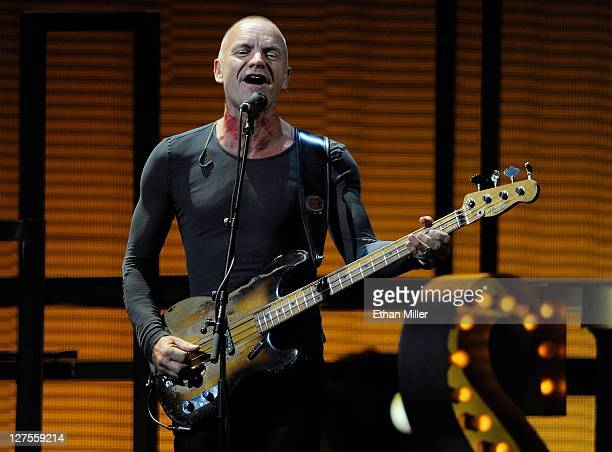 Recording artist Sting performs with Lady Gaga at the iHeartRadio Music Festival at the MGM Grand Garden Arena September 24 2011 in Las Vegas Nevada