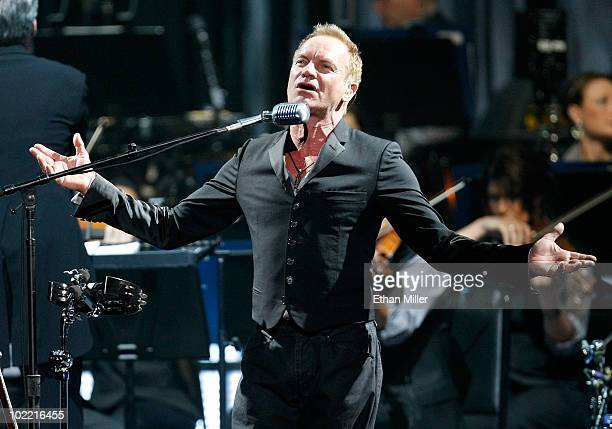 Recording artist Sting performs with London's Royal Philharmonic Concert Orchestra during his Symphonicity tour at the MGM Grand Garden Arena June 18...