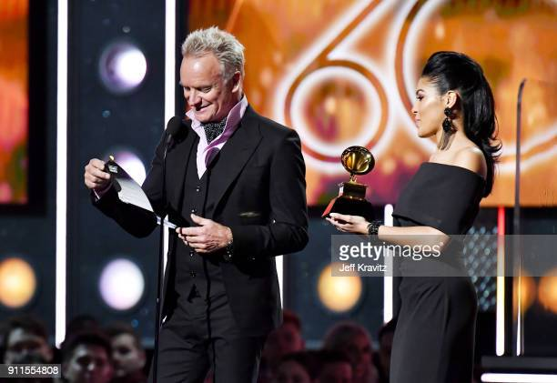 Recording artist Sting presents award onstage during the 60th Annual GRAMMY Awards at Madison Square Garden on January 28 2018 in New York City