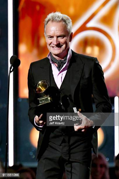 Recording artist Sting presents the Song of the Year award onstage during the 60th Annual GRAMMY Awards at Madison Square Garden on January 28 2018...