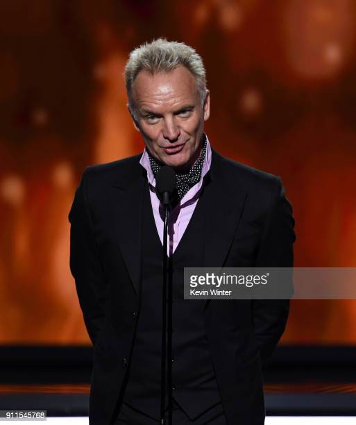 Recording artist Sting speaks onstage during the 60th Annual GRAMMY Awards at Madison Square Garden on January 28 2018 in New York City