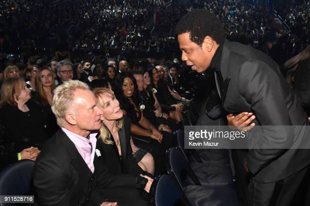 Recording artist Sting wife Trudie Styler and recording artist Jay Z attend the 60th Annual GRAMMY Awards at Madison Square Garden on January 28 2018...
