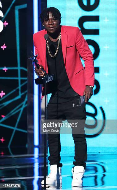 Recording artist Stonebwoy speaks onstage during the International Awards during the 2015 BET Awards at the Microsoft Theater on June 28 2015 in Los...