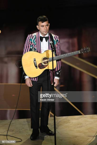 Recording artist Sufjan Stevens performs onstage during the 90th Annual Academy Awards at the Dolby Theatre at Hollywood Highland Center on March 4...