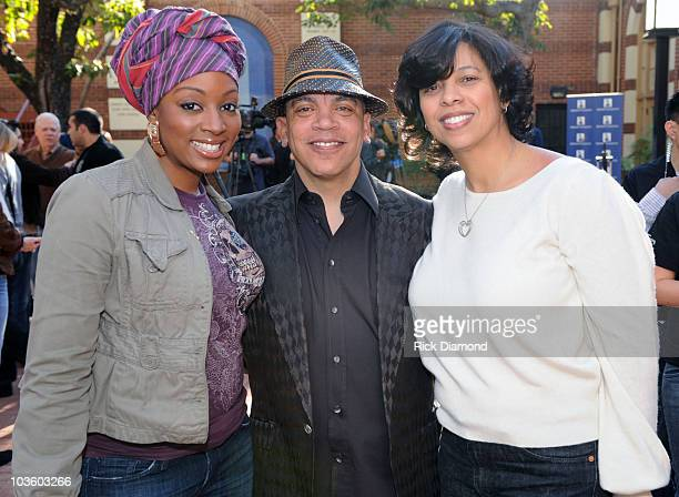 Recording Artist Sy Smith Angelia BibbsSanders VP Membership Recording Academy and Recording Artist Rickey Minor at The GRAMMY Foundation's National...