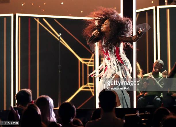 Recording artist SZA performs onstage at the 60th Annual GRAMMY Awards at Madison Square Garden on January 28 2018 in New York City