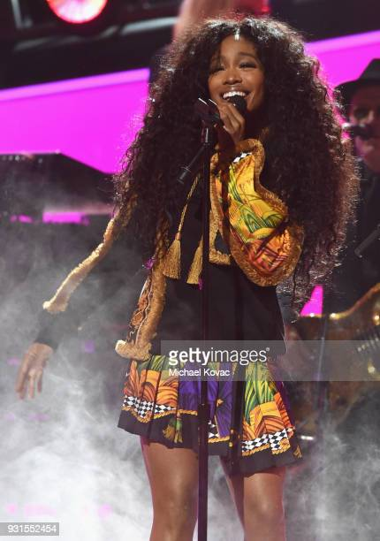 Recording artist SZA performs onstage during 60th Annual GRAMMY Awards I'm Still Standing A GRAMMY Salute To Elton John at the Theater at Madison...
