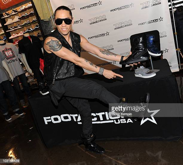 Recording Artist Taboo of The Black Eyed Peas attends the Taboo DeltahTM 3008 shoe line launch at the Foot Action Flagship Store on July 30 2010 in...