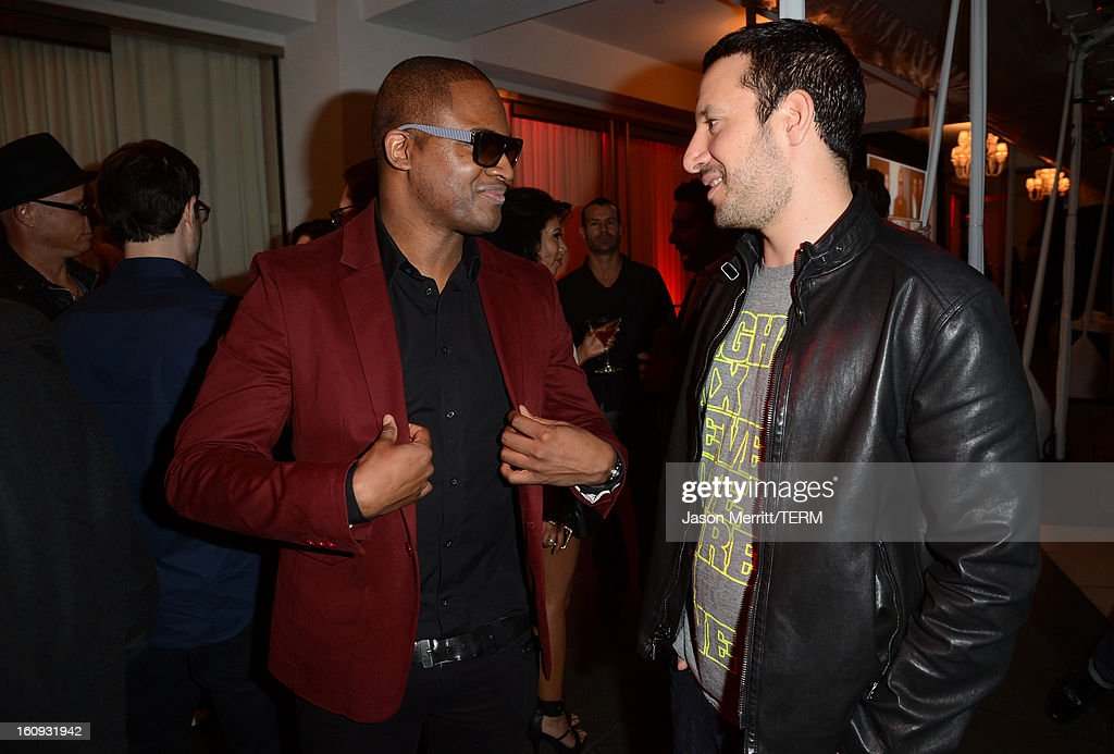 Recording Artist Taio Cruz and DJ Cobra attend Quattro Volte Vodka Preview with Taio Cruz at SLS Hotel on February 7, 2013 in Beverly Hills, California.