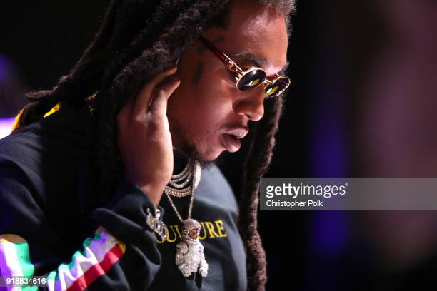 Recording artist Takeoff of music group Migos performs onstage during 'AllStar Weekend KickOff Party' at Capitol Records Tower on February 15 2018 in...