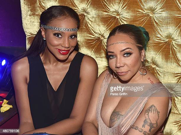 Recording artist Tamar Braxton and TV personality Tameka 'Tiny' Harris attend Tiny Harris Celebrity Birthday Celebration at Scales 925 on July 14...