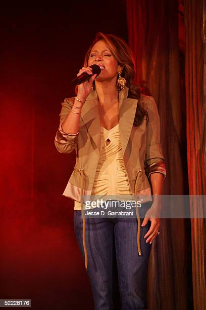 Recording Artist Tamia performs the Canadian National Anthem prior to the 54th AllStar Game part of 2005 NBA AllStar Weekend at Pepsi Center on...