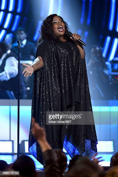 Recording artist Tasha Cobbs performs onstage during the 2015 Soul Train Music Awards at the Orleans Arena on November 6 2015 in Las Vegas Nevada