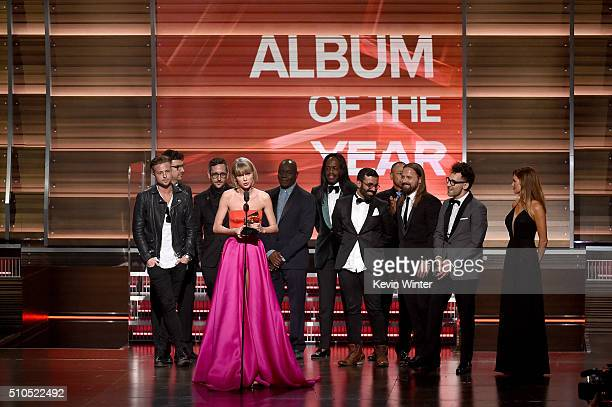 Recording artist Taylor Swift accepts the Album of the Year award for '1989' onstage during The 58th GRAMMY Awards at Staples Center on February 15...