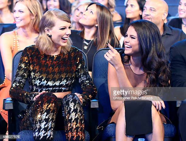 Recording artist Taylor Swift and actress/singer Selena Gomez attend the 2015 MTV Video Music Awards at Microsoft Theater on August 30 2015 in Los...