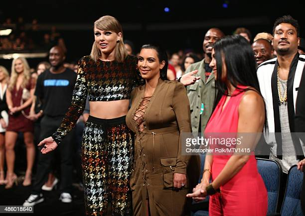 Recording artist Taylor Swift and TV personality Kim Kardashian attend the 2015 MTV Video Music Awards at Microsoft Theater on August 30 2015 in Los...