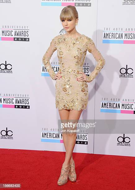Recording artist Taylor Swift arrives at The 40th American Music Awards at Nokia Theatre LA Live on November 18 2012 in Los Angeles California