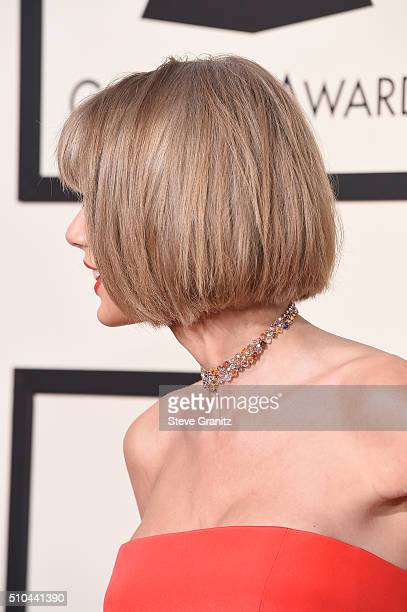Recording artist Taylor Swift hair and necklace details attends The 58th GRAMMY Awards at Staples Center on February 15 2016 in Los Angeles California