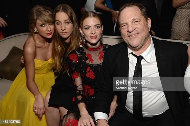 Recording artist Taylor Swift musician Este Haim actress Jaime King and producer Harvey Weinstein attend The Weinstein Company's 2015 Golden Globe...