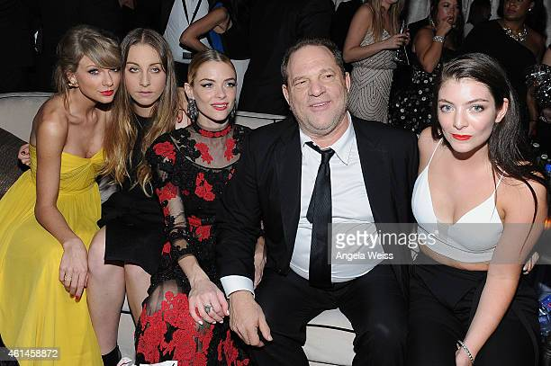 Recording artist Taylor Swift musician Este Haim actress Jaime King producer Harvey Weinstein and recording artist Lorde attend The Weinstein Company...