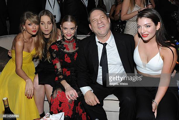 Recording artist Taylor Swift musician Este Haim actress Jaime King producer Harvey Weinstein and recording artist Lorde attend The Weinstein Company...