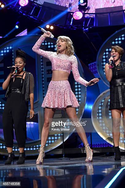 Recording artist Taylor Swift performs onstage during the 2014 iHeartRadio Music Festival at the MGM Grand Garden Arena on September 19 2014 in Las...