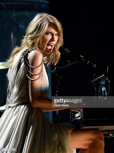 Recording artist Taylor Swift performs onstage during the 56th GRAMMY Awards at Staples Center on January 26 2014 in Los Angeles California