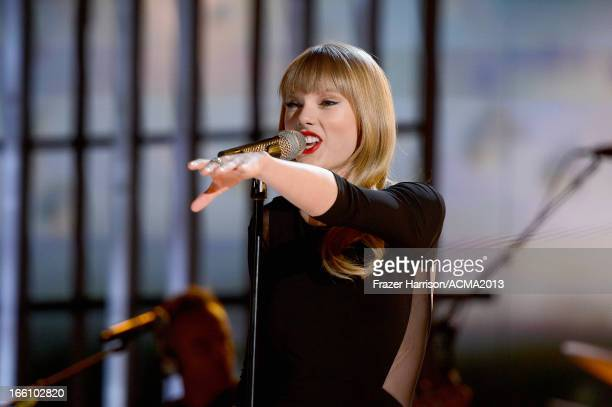 Recording artist Taylor Swift performs onstage during Tim McGraw's Superstar Summer Night presented by the Academy of Country Music at the MGM Grand...