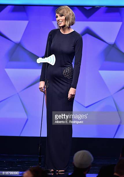 Recording artist Taylor Swift speaks onstage during the 27th Annual GLAAD Media Awards at the Beverly Hilton Hotel on April 2 2016 in Beverly Hills...