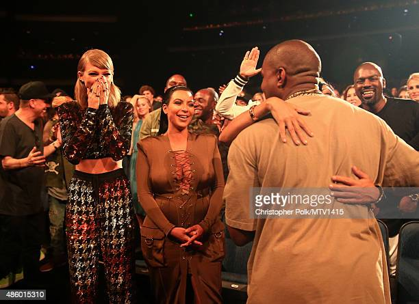 Recording artist Taylor Swift TV personality Kim Kardashian and recording artist Kanye West attend the 2015 MTV Video Music Awards at Microsoft...