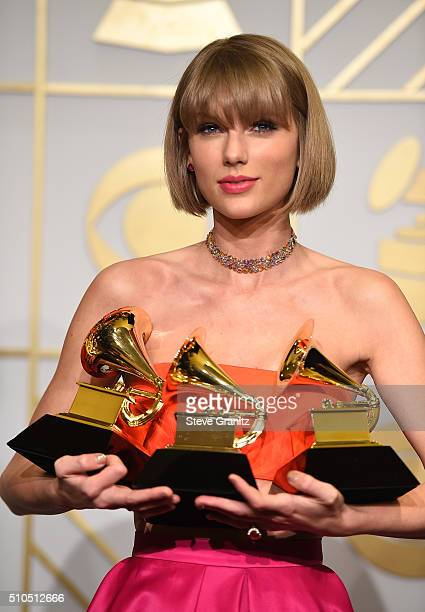 Recording artist Taylor Swift winner of the Album of the Year award for '1989' the Best Pop Vocal Album award for '1989' and the Best Music Video...