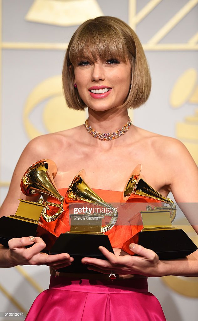 Recording artist Taylor Swift, winner of the Album of the Year award for '1989,' the Best Pop Vocal Album award for '1989,' and the Best Music Video award for 'Bad Blood,' poses in the press room during The 58th GRAMMY Awards at Staples Center on February 15, 2016 in Los Angeles, California.