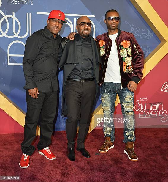Recording artist Teddy Riley musicians Markell Riley and Agil Davidson of WreckxnEffect attend the 2016 Soul Train Music Awards at the Orleans Arena...