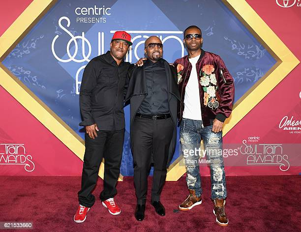 Recording artist Teddy Riley musicians Markell Riley and Aqil Davidson of WreckxnEffect attend the 2016 Soul Train Music Awards at the Orleans Arena...