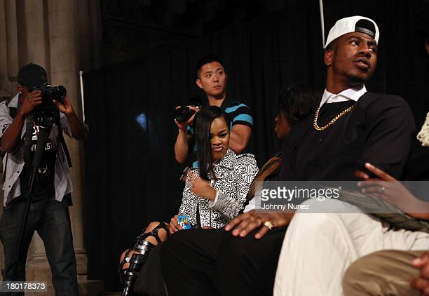 Recording artist Teyana Taylor and professional basketball player Iman Shumpert attend the Michael Anthony Collection presentation during Spring 2014...