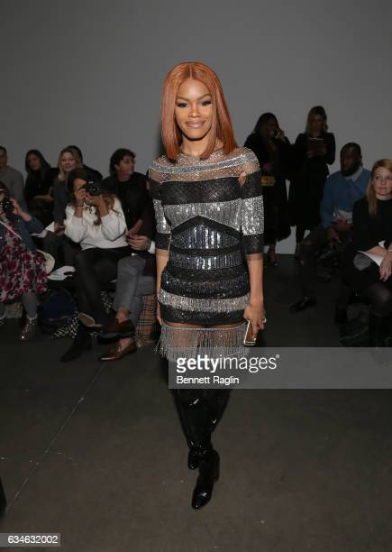 Recording artist Teyana Taylor attends the Pamella Roland fashion show during New York Fashion Week at Pier 59 Studios on February 10 2017 in New...