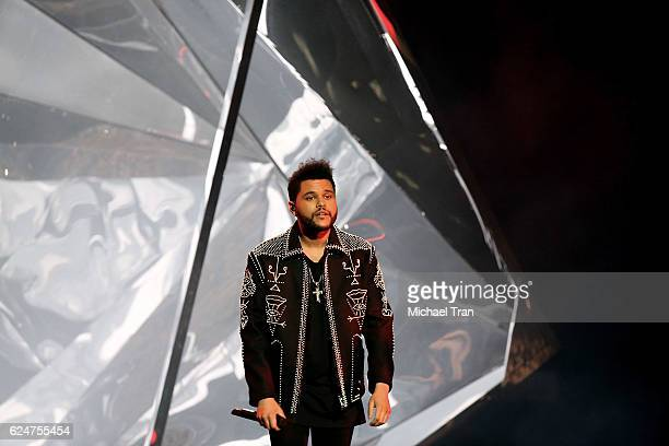 Recording artist The Weeknd also known as Abel Makonnen Tesfaye performs onstage during the 2016 American Music Awards held at Microsoft Theater on...