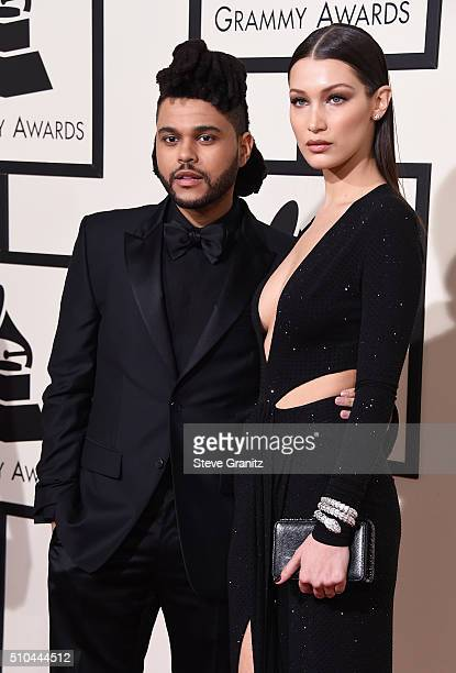 Recording artist The Weeknd and model Bella Hadid attend The 58th GRAMMY Awards at Staples Center on February 15 2016 in Los Angeles California