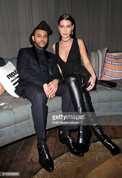 Recording artist The Weeknd and model Bella Hadid attend the Republic Records Grammy Celebration presented by Chromecast Audio at Hyde Sunset Kitchen...