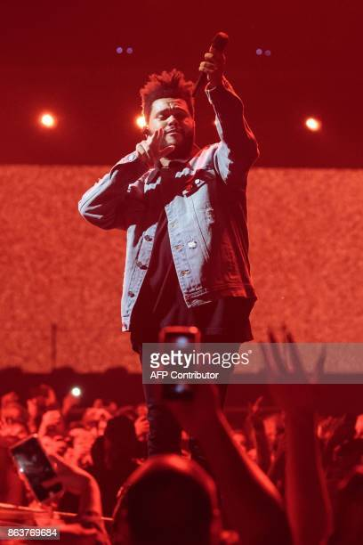 Recording artist The Weeknd performs on his Starboy Legend of the Fall 2017 World Tour at the ATT Center on October 19 2017 in San Antonio Texas /...