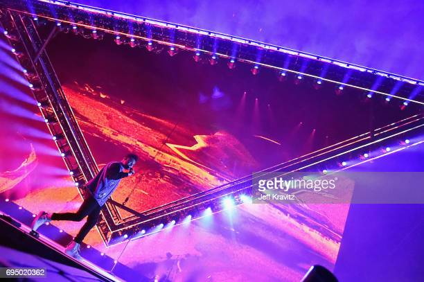 Recording artist The Weeknd performs onstage at What Stage during Day 4 of the 2017 Bonnaroo Arts And Music Festival on June 11 2017 in Manchester...