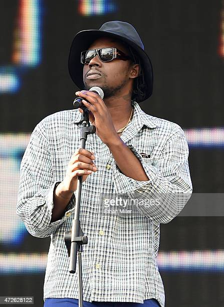 Recording artist Theophilus London performs onstage during Rock in Rio USA at the MGM Resorts Festival Grounds on May 8 2015 in Las Vegas Nevada