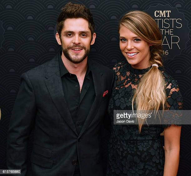 Recording Artist Thomas Rhett and Wife Laura Gregory arrive at 2016 CMT Artists Of The Year at Schermerhorn Symphony Center on October 19 2016 in...