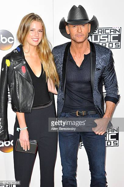 Recording artist Tim McGraw and Maggie Elizabeth McGraw arrive at the 2016 American Music Awards at Microsoft Theater on November 20 2016 in Los...
