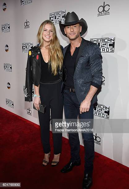 Recording artist Tim McGraw and Maggie Elizabeth McGraw attend the 2016 American Music Awards at Microsoft Theater on November 20 2016 in Los Angeles...